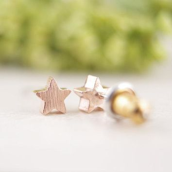 10Pcs/lot New comeing Star  Earrings gift idea  bridesmaid  gold pink gold  tiny small  geometric  stud earrings for girls ED025