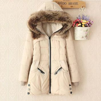 2017 autumn and winter new fashion thick cotton coat fur collar double zipper down jacket [61751427097]