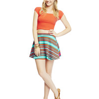 Striped Skater Skirt | Wet Seal