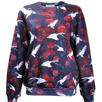 ZLYC Women Girls Fashion Swan Bird Rose Floral Print Casual Sweatshirt Pullover
