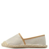 Taupe Qupid Striped Canvas Espadrille Flats