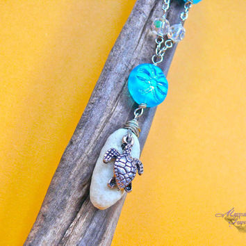 Sea Turtle Necklace - Hawaiian jewelry with honu charm, inspired by the sea for beach brides & mermaids