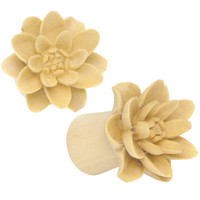 00 Gauge Organic Crocodile Wood Lily Hand Carved Plug Set | Body Candy Body Jewelry