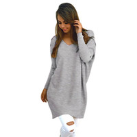Autumn winter V neck sweater women loose long batwing sleeve sweater Fashion pullovers thin sweaters jumper New 2017