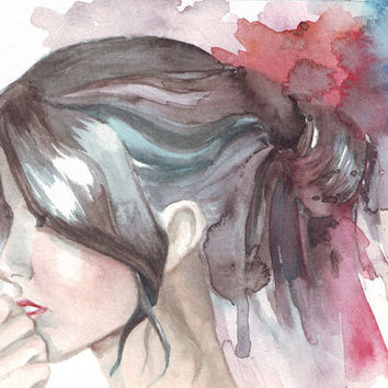 Original watercolor art woman hair contemporary painting feelings moods and emotions
