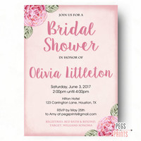 Peonies Bridal Shower Invitation PRINTABLE - Floral Bridal Shower Invite - Pink Peony Bridal Invites - Shabby Chic Bridal Shower Invitation