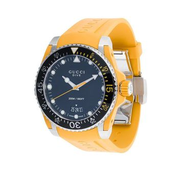 Yellow and Navy Dive Watch by Gucci
