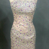 Stunning Sparkle Crystal Beaded Short Sexy One Shoulder Prom Dress Women Homecoming See Through Party Gown Cocktail Dresses 2016