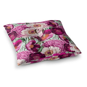 "83 Oranges ""Pink Velvet"" Pink Purple Nature Pattern Mixed Media Illustration Square Floor Pillow"