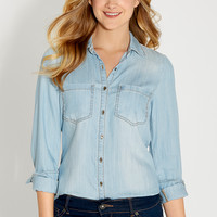 chambray button down shirt in light wash with back slit