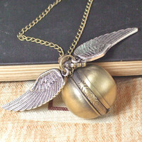 Pocket Watch Necklace Shell Bronze Pendant Harry Potter by mehaasp