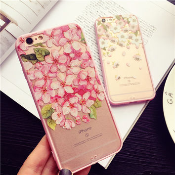Fresh and beautiful flowers mobile phone case for iphone 6 6s 6plus 6s plus + Nice gift box!