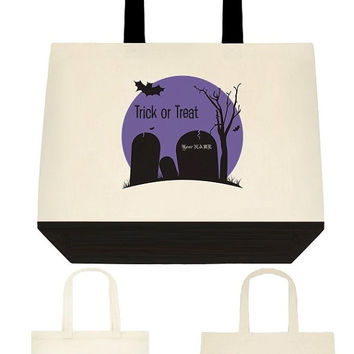 Cemetery Trick or treat bag 3 color choices and 3 size, Halloween bag, Halloween Tote, Cotton Canvas Tote Bag, Gift Bags, Trick or Treat Bag