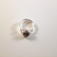 INTENSE - Iridescent Gray Crackle Glass Ring Wrapped with Silver Wire.