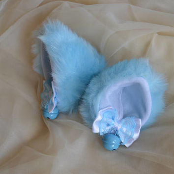 Kitten play clip on cat ears with ribbon bows and bells - neko lolita cosplay costume - kitten play gear accessories - white and baby blue