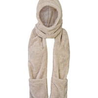 Hooded Pocket Scarf in Beige – bandbcouture.com