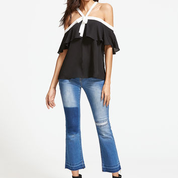 Black Chiffon Off Shoulder Blouse