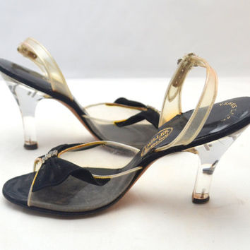Vintage I Miller Slingback Shoes, Lucite Heels, Black Velvet Bow with Rhinestones, Original Box, Size 7-7.5, Very Narrow, 1950s