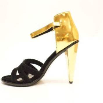 Dolce Vita Neci Black Suede Gold Heels Strappy Stillettos Women's 8 M