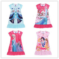 Kids Pajamas Summer Short Sleeves Hot Baby Girls Cotton Printing Nightgown Cartoon Spring Sweet Princess Dress Frozen Elsa Anna Kid Clothes