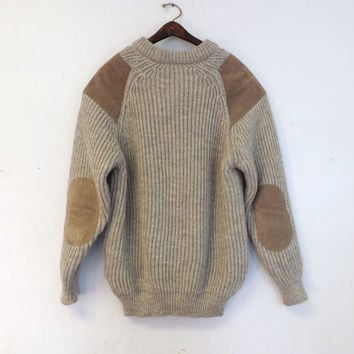Vintage Woolyback Unisex Sweater Quality British Knitwear Cream Tan Suede Elbow Patch Fall Nautical Fisherman Womens Mens Ski Top Outerwear