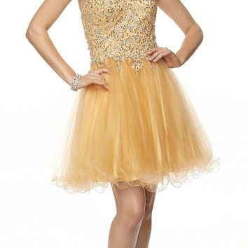 Juliet 787 Gold Strapless Applique Jeweled Bodice Short Prom Dress