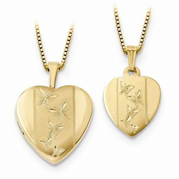 14K Two-Tone Gold 16mm Polished/Satin Butterfly Locket and GP 12mm Pendant