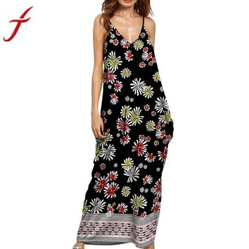 Summer long dress 2017 spring women Spaghetti Strap V neck Evening Party vestitino donna Sleeveless Flower Printing beach dress