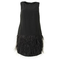 Tibi Womens Wool Blend Ostrich Feather Cocktail Dress