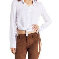 White Lace-Up Side Button-Up Top by Charlotte Russe