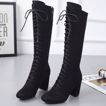 Women Stretch Faux Suede Slim Thigh High Boots Sexy Fashion Boots Lace Up High Heels Woman Shoes Black