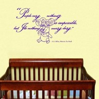 Housewares Vinyl Decal Winnie the Pooh Quote Nothing is Impossible Home Wall Art Decor Removable Stylish Sticker Mural Unique Design for Room Baby Kid Nursery