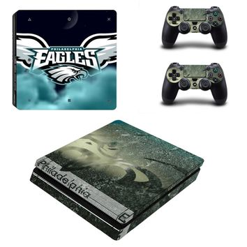 Philadelphia Eagles PS4 Slim Skin Sticker Decal for Sony PlayStation 4 Console and 2 Controller PS4 Slim Skins Sticker Vinyl