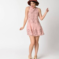 1920s Flapper Style Baby Pink Embroidered Sleeveless Day Dress
