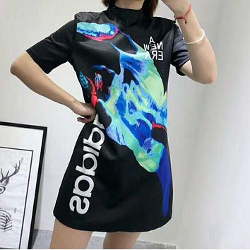 Adidas Popular Women Personality Painting Contrast Color Short Sleeved Dress I-AA-XDD