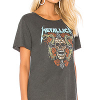 DAYDREAMER Metallica Skull And Roses Tee in Faded Black | REVOLVE