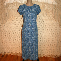 Vintage 90s Grunge Dress Blue Paisley Dress Short Sleeve Long Casual Dress Day Dress Liz Claiborne Size 8 Dress Medium Womens Clothing