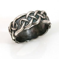 Mens Silver Celtic Knots Band   Handmade by SwankMetalsmithing