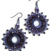 Purple and silver Circle Earrings from Creative Obsession LLC