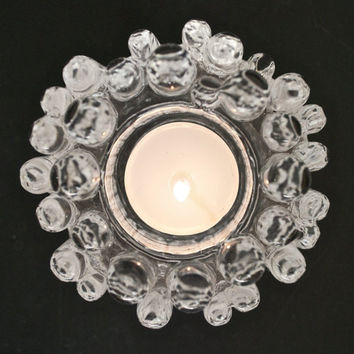 Kosta Boda Scandinavian Modernist Icy Glass Candle Holder Goran Warff Sweden