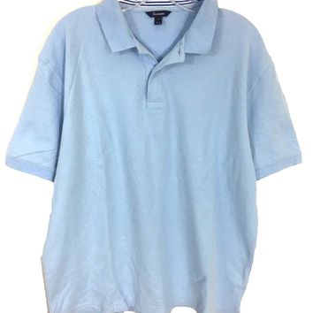 Faconnable Light Blue Knit Cotton 2 Button Polo Casual Shirt Men's Size XL-Preowned