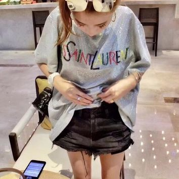 """Yves Saint Laurent YSL"" Women Casual Fashion Rainbow Shiny Letter Short Sleeve T-shirt Top Tee"