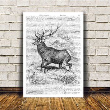 Animal art Wall decor Dictionary print Deer poster RTA217