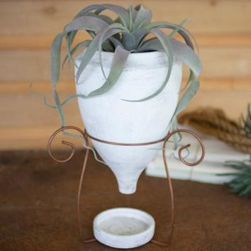 White Wash Clay Planter With Saucer & Copper Finish Wire Base