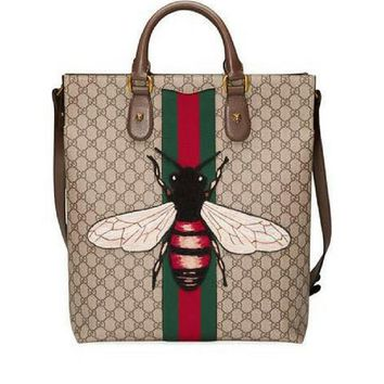 Gucci Men's Bee-Embroidered GG Supreme Canvas Tote Bag, Tan