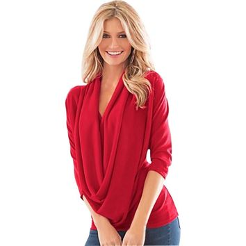 *Online Exclusive* Three Quarter Sleeve Draped cowl neck top