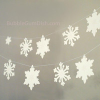 THREE Snowflake garlands glittered Christmas buntings Set of THREE strands