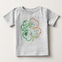 White, Orange and Green Grungy Four-Leaf Clover Baby T-Shirt