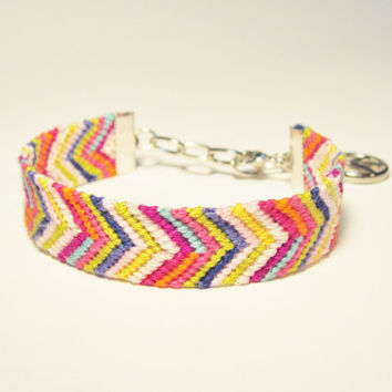 Chevron Friendship Bracelet with Peace Symbol Charm