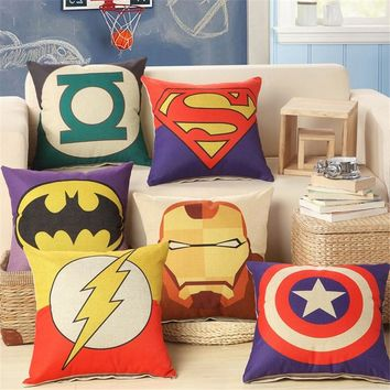 2018 New Superman Batman Ironman Spiderman Green Lantern Cushions Linen Cushion Throw Pillowcase For Room